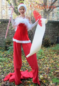 Santa Girl on Stilts